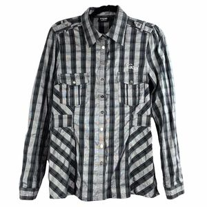 COOGI Western Black Silver Metallic Plaid Shirt